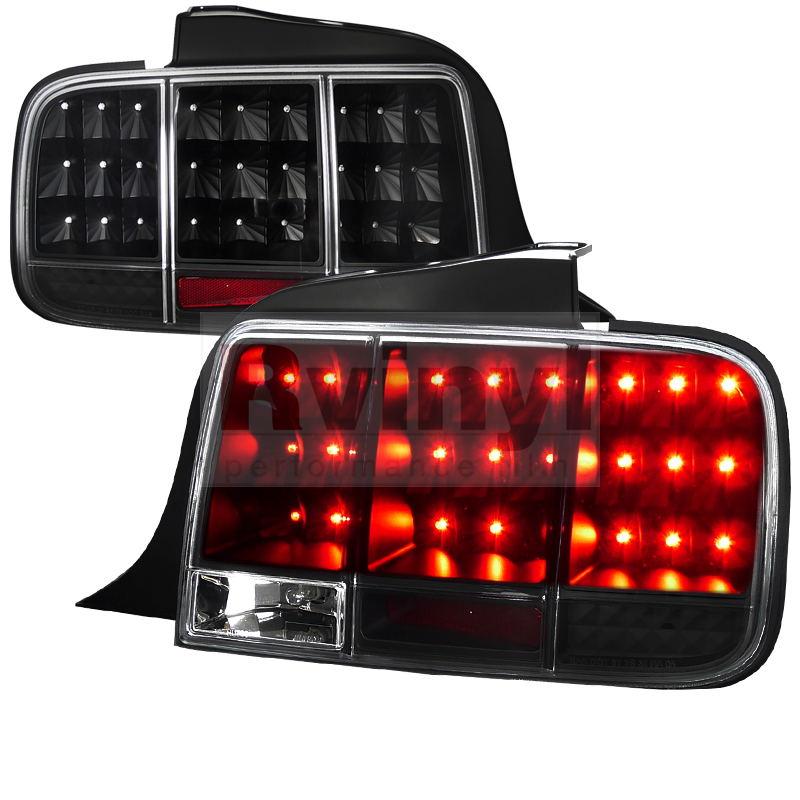 tuning ford mustang 2005 2009 sequential black led tail lights. Black Bedroom Furniture Sets. Home Design Ideas