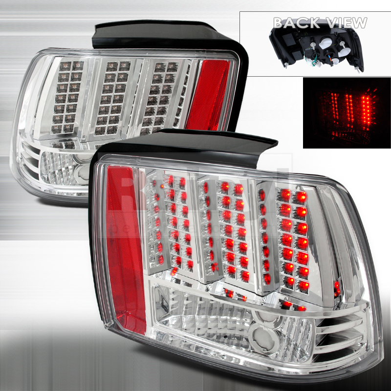 spec d tuning ford mustang 1999 2004 chrome led tail lights. Black Bedroom Furniture Sets. Home Design Ideas